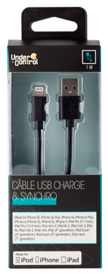 USB lightning iphone kábel čierny
